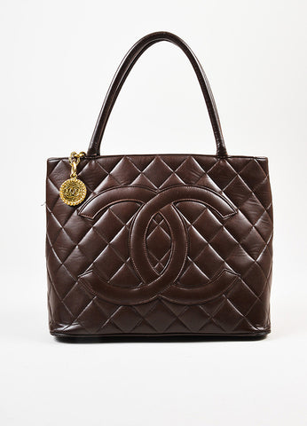 "äó¢íšíóChanel Chocolate Brown Lambskin 'CC' Quilted Chain Pull ""Medallion"" Tote Bag Frontview"