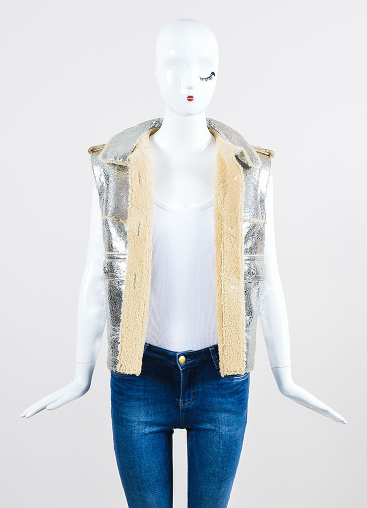 Metallic Silver Lambskin Leather Shearling Pocket Chanel Vest Frontview