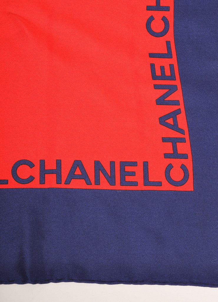 Chanel Navy, Red, and Gold Quilted Flap Bag Printed Silk Scarf Brand
