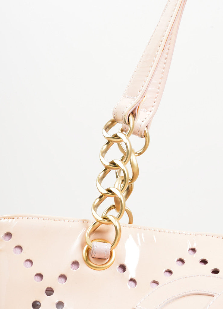 Nude Blush Chanel Patent Leather Perforated 'CC' Chain Tote Bag Detail 3