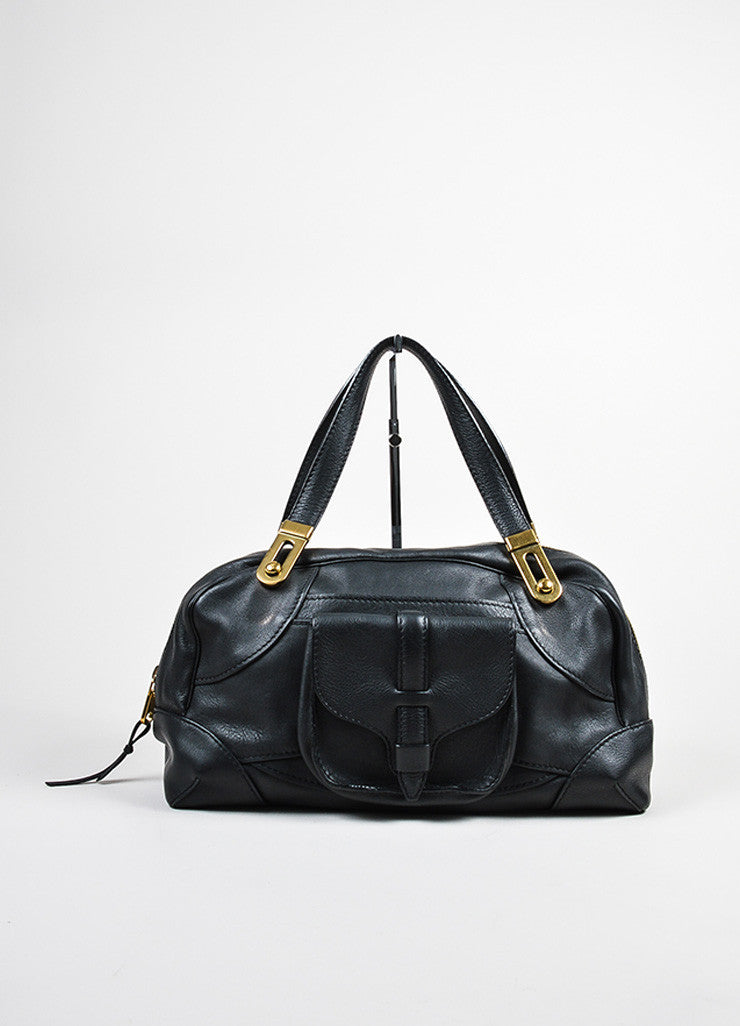 Black Chloe Leather Stitched Toggle Handle Shoulder Satchel Bag Frontview