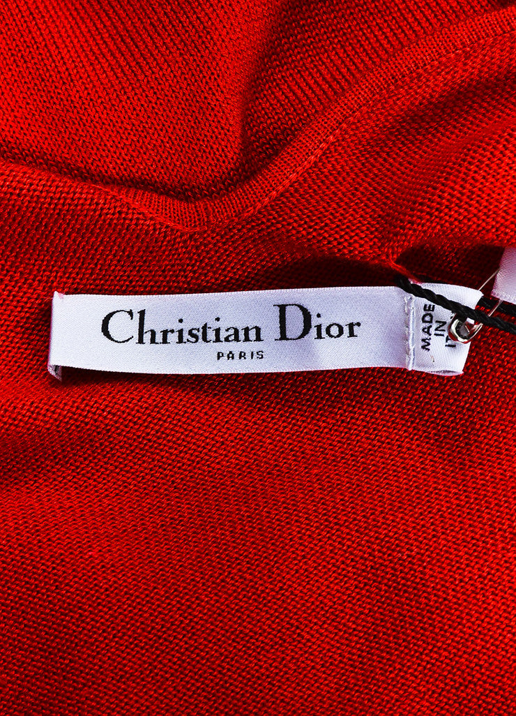 Red Christian Dior Cashmere Silk Knit Cropped Sleeve Top Brand