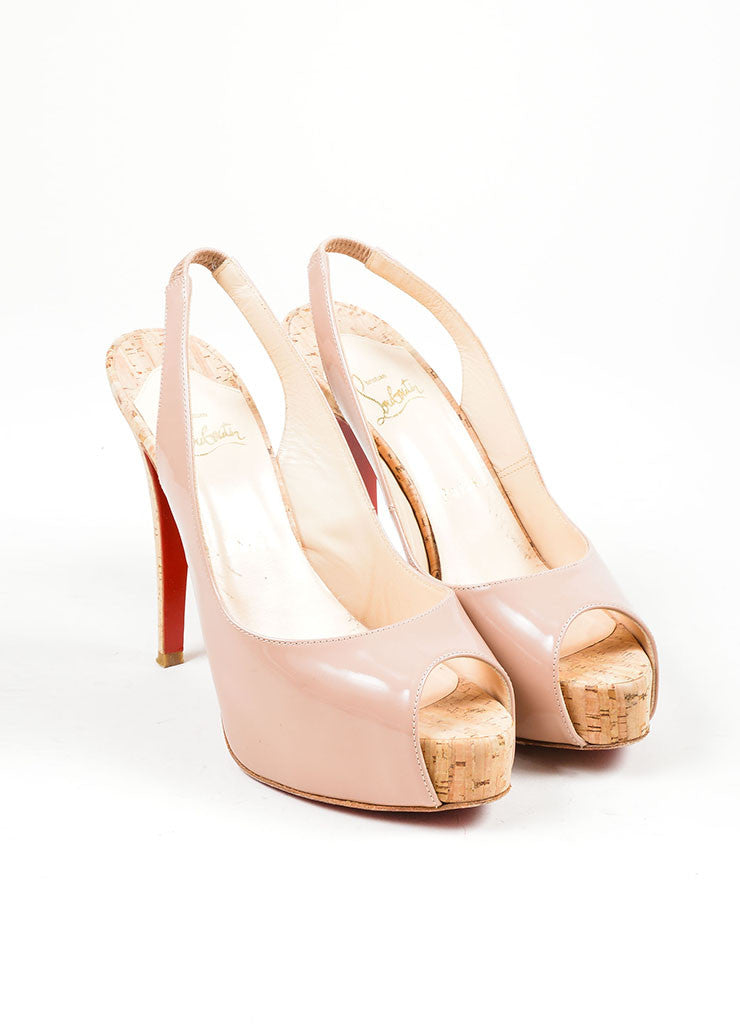 "Nude Christian Louboutin Patent Leather Cork ""So Private"" Pumps Frontview"