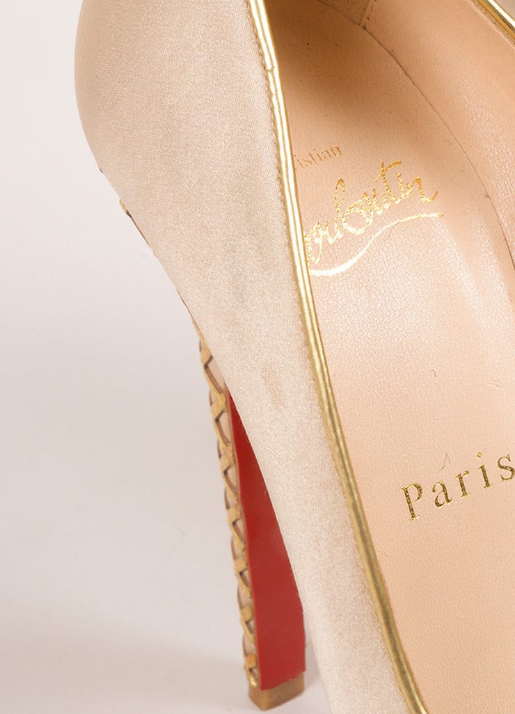 "Christian Louboutin Champagne and Gold Satin and Woven Leather Trim ""Bianca"" Pumps Detail 2"