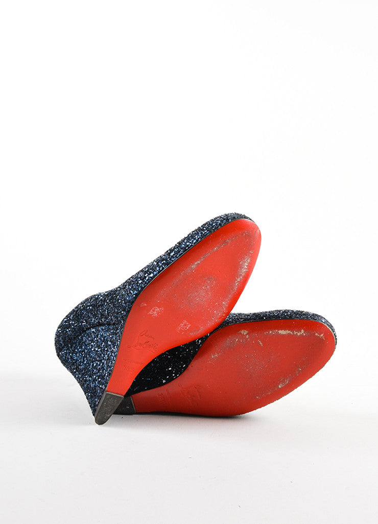 Christian Louboutin Navy Blue Glitter Round Toe Wedges Outsoles