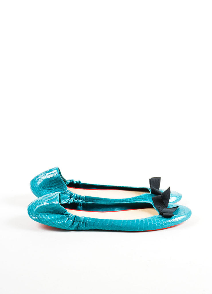 Christian Louboutin Teal and Black Riviera Watersnake Air Loubi Ballet Flats Sideview