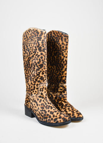 Tan and Brown Elyse Walker Pony Hair Leopard Knee High Cowboy Boots Frontview