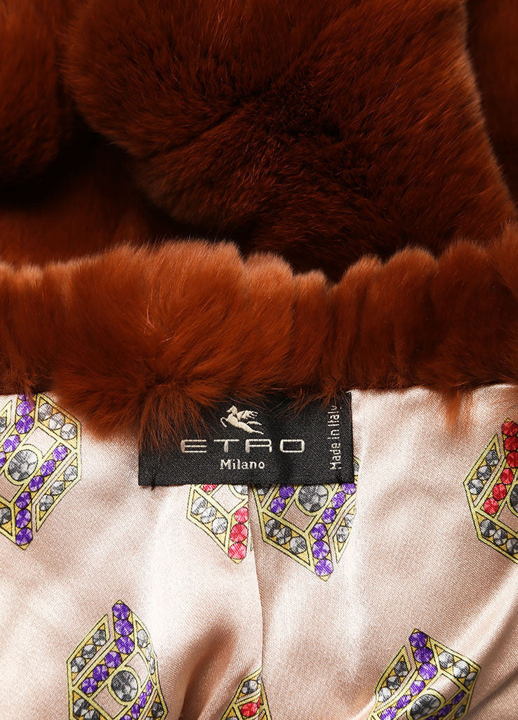 Etro Brown, Red, and Purple Fur Color Block Tassel Trim Cap Sleeve Shrug Brand