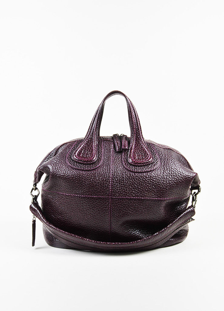 "Givenchy Eggplant Pebbled Patent Leather ""Large Nightingale"" Satchel Bag frontview"