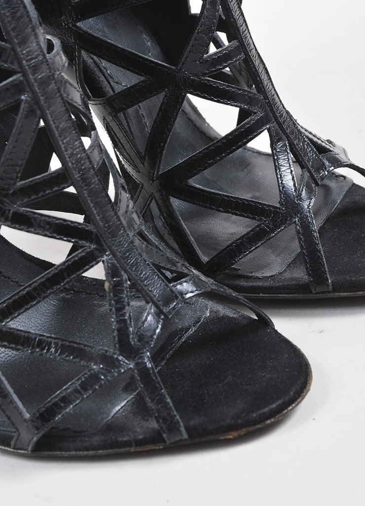 Givenchy Black Suede and Leather Elastic Panel Open Toe Caged Ankle Booties Detail