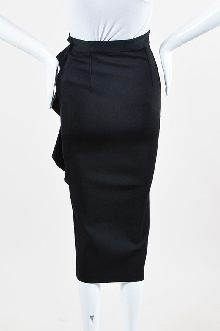 Black Givenchy Ribbed Stretch Crepe Ruffled Zipper Midi Skirt Backview