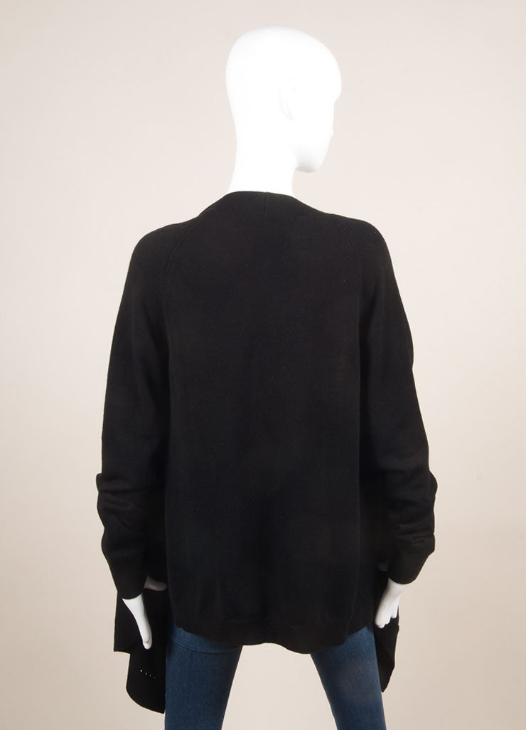 Givenchy New With Tags Black Cashmere Long Sleeve Asymmetric Open Front Cardigan Backview