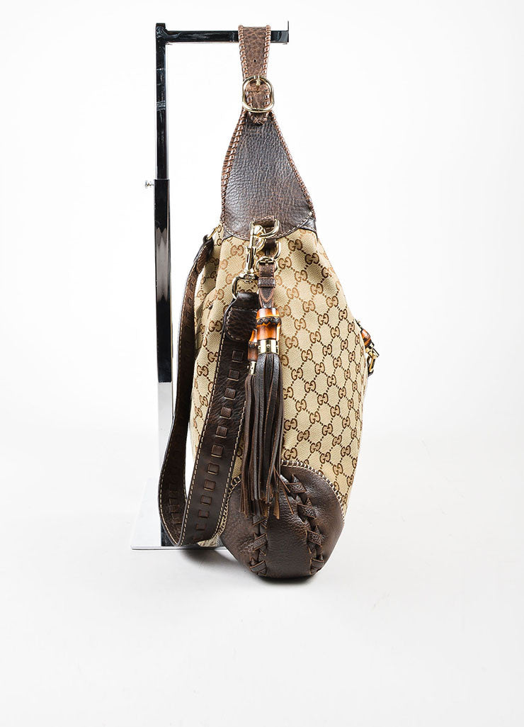 "Gucci Brown and Beige Canvas and Leather Monogram ""Large New Jackie"" Hobo Bag Sideview"