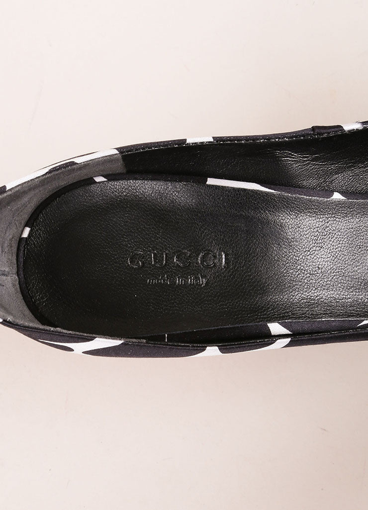 Gucci New In Box Black, White, and Red Spotted Satin Peep Toe Ankle Strap Pumps Brand
