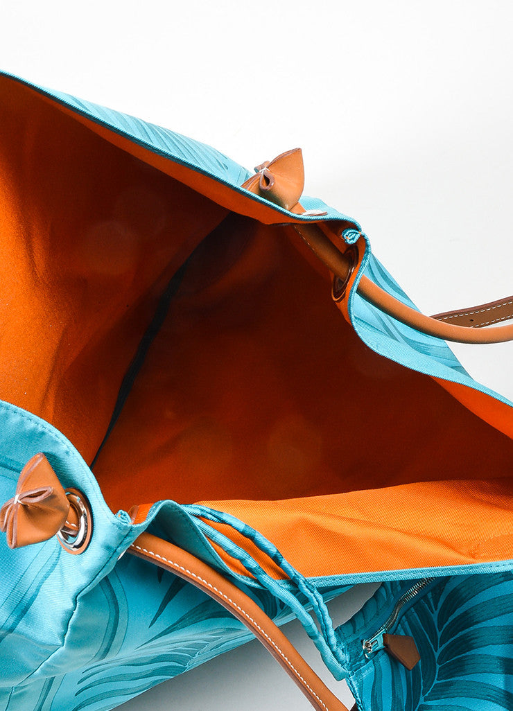 "Turquoise and Brown Hermes Leather Trim ""Silk City Tiger Royal"" Bag Interior"