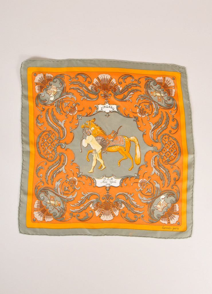 "Hermes Green and Orange Horse and Man Print ""Zingaro"" Silk Pocket Scarf Frontview 2"
