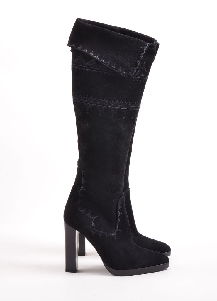 Hermes Black Suede Embroidered Stacked Heel Knee High Boots Sideview