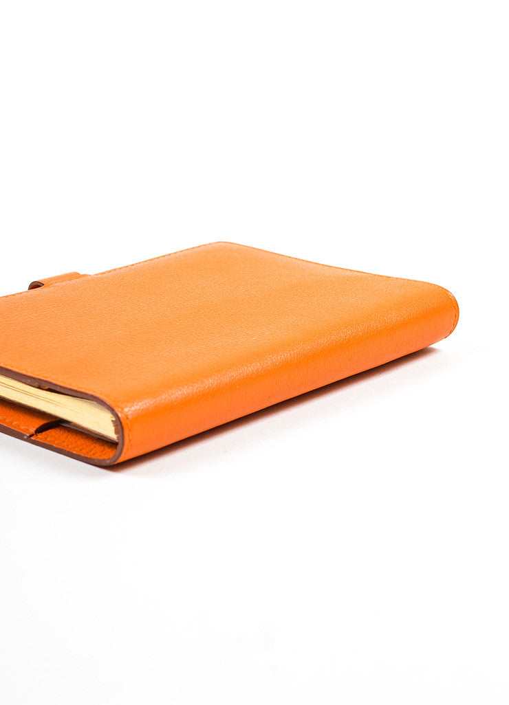 "Orange Hermes Swift Leather Small ""Mini Vision"" Agenda Planner Address Book Sideview"