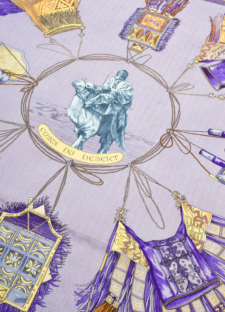 "Hermes Purple Cashmere and Silk ""Cuirs Desert"" Camel Rider Print 90cm Scarf Detail"