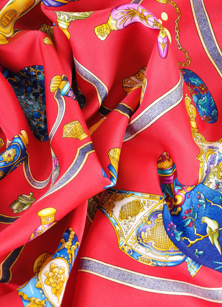Hermes Red, Blue, and Gold Silk Perfume Bottle Print Scarf Detail