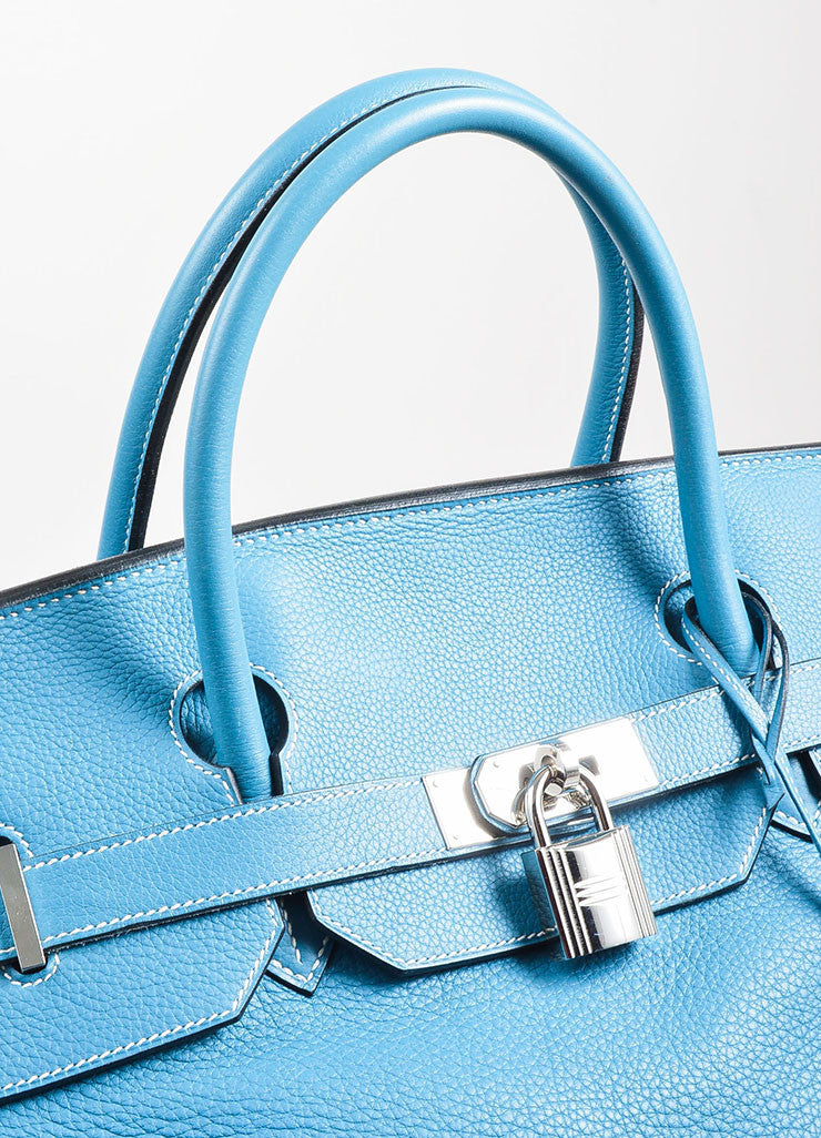 "Blue ""Saint Cyr"" Hermes SHW Leather 50cm ""Birkin"" Bag Detail 3"