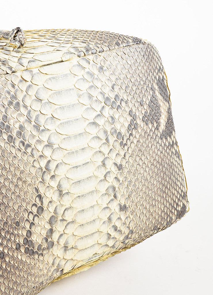 Hunting Season Cream and Grey Python Bucket Bag Bottom View