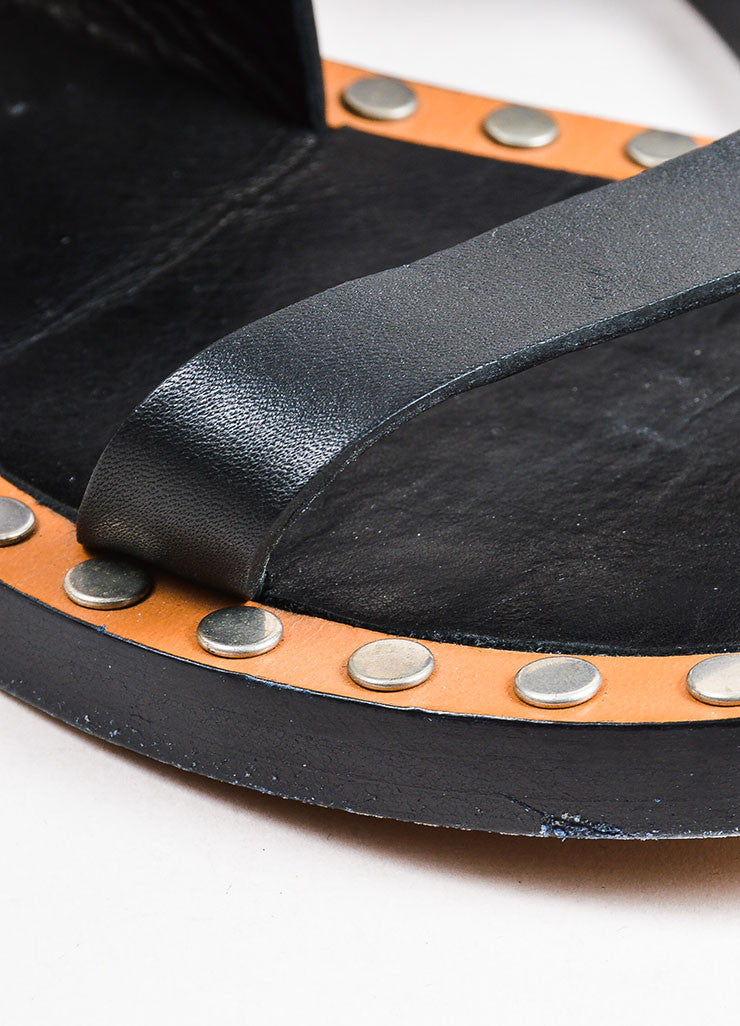 "Isabel Marant Black Leather Studded ""Janis"" Open Toe Sandals Detail"