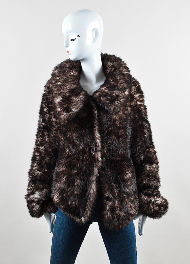 Issey Miyake Black and Brown Faux Fur Woven Collared Cropped Jacket Frontview