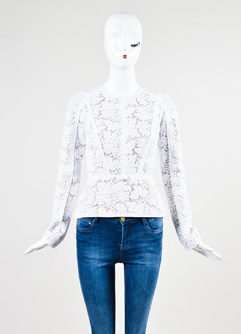 White and Nude J. Mendel Embroidered Floral Lace Long Sleeve Peplum Top Frontview