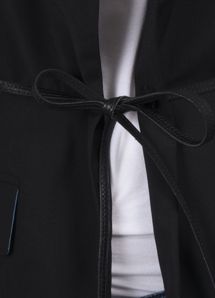 Jean Paul Gaultier Black Wool Belted Blazer Detail