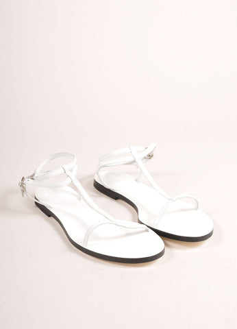 Jil Sander New In Box White Leather T-Strap and Ankle Strap Flat Sandals Frontview