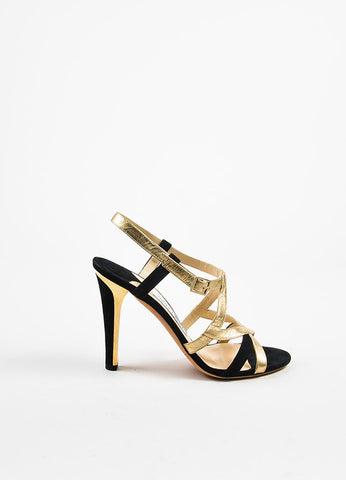 Black and  Gold Metallic Jimmy Choo Suede Leather Two Tone Strap Heel Sandals Sideview