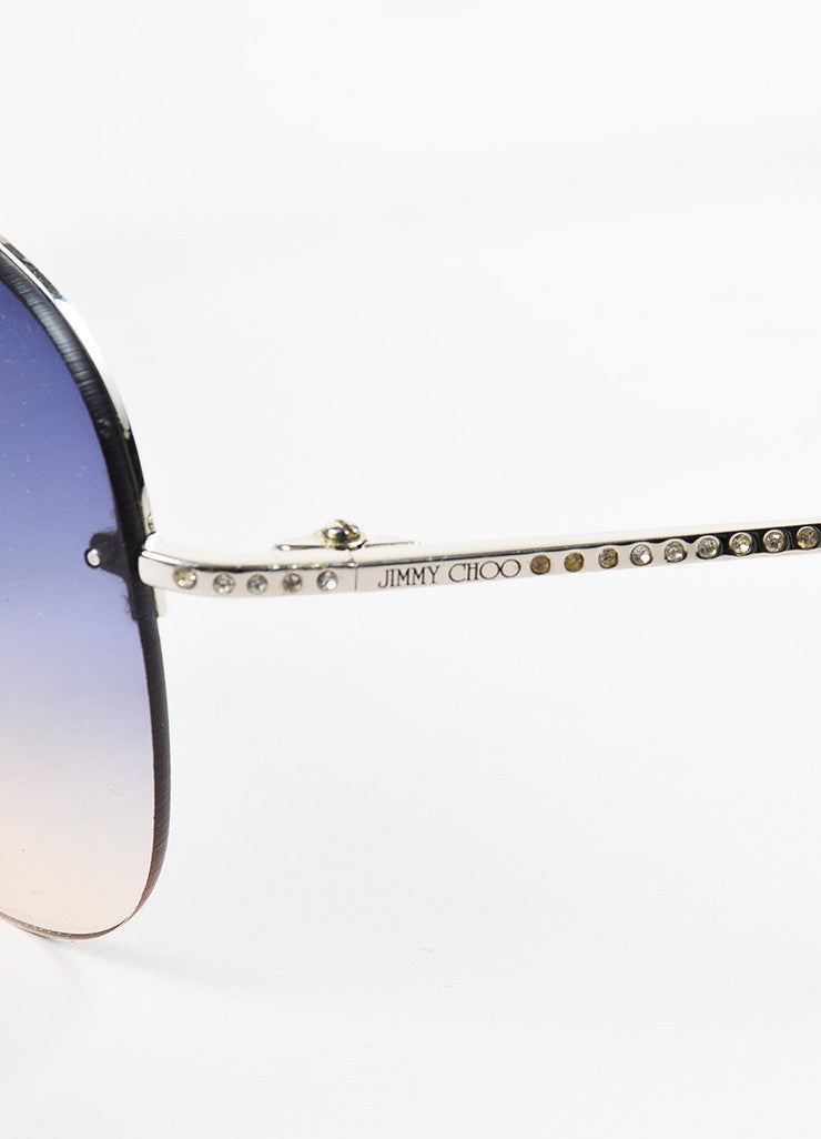 "Jimmy Choo Blue and Silver Toned Gradient Lens Rhinestone ""Fran"" Aviator Sunglasses Brand"