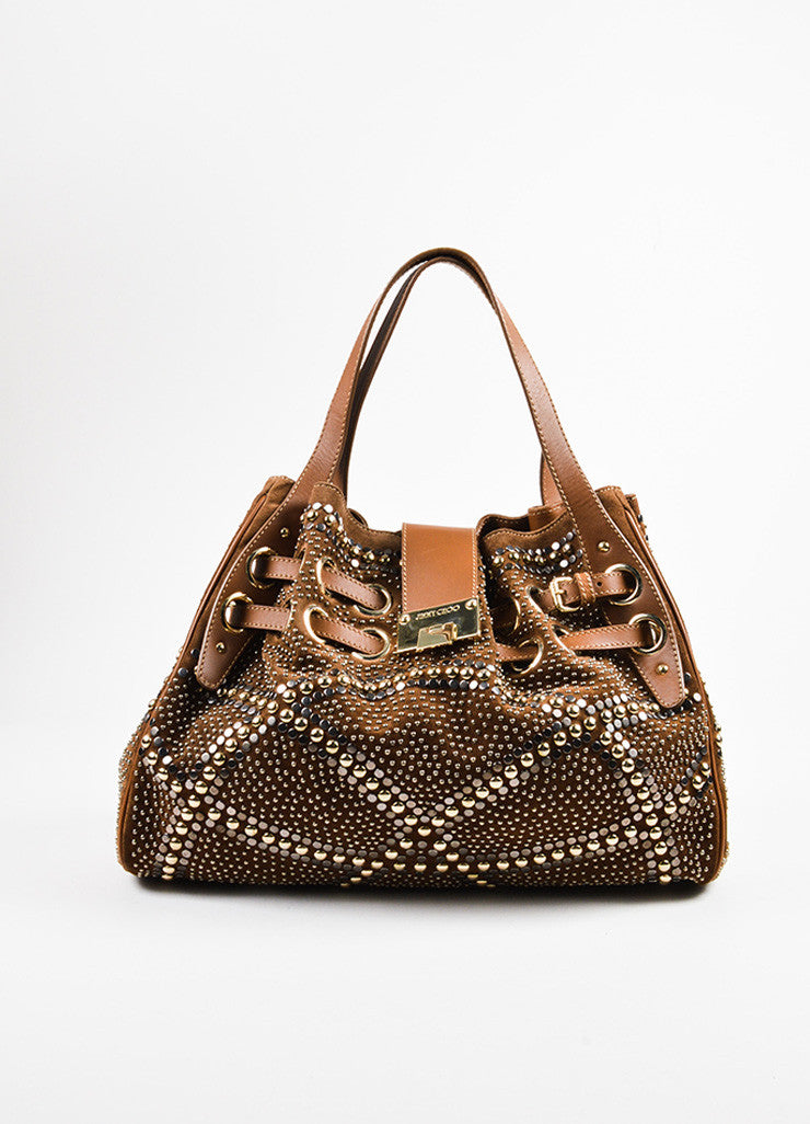 "Brown Jimmy Choo Suede Silver Tone Studded ""Ramona"" Hobo Bag Front"