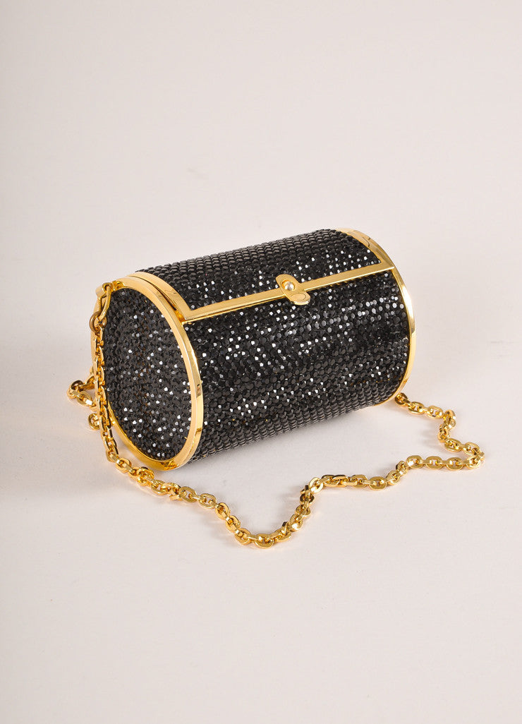 Judith Leiber Black and Gold Toned Crystal Rhinestone Mini Barrel Minaudiere Bag Sideview