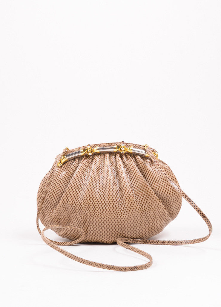 Judith Leiber Tan and Brown Embossed Snakeskin Leather Pouch Clutch Bag Frontiew