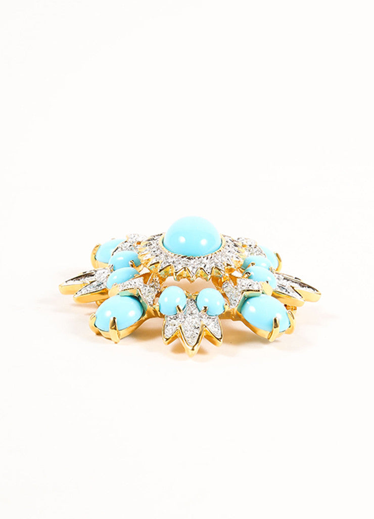 Gold Toned and Faux Turquoise Cabochon Rhinestone Burst Pin Brooch