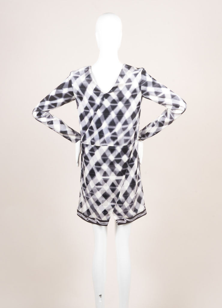 Kenzo New With Tags Grey and White Checkered Print and Jacquard Long Sleeve Silk Shift Dress Backview