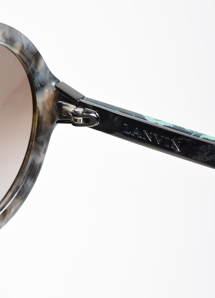 "Grey, Black, and Green Lanvin Marbled Plastic Round Frame ""SLN 628"" Retro Sunglasses Brand"