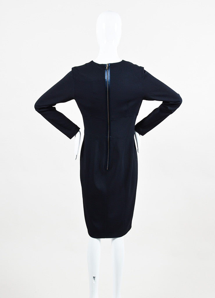 "Lanvin Navy Blue Long Sleeve V-Neck ""Uniform"" Dress Backview"
