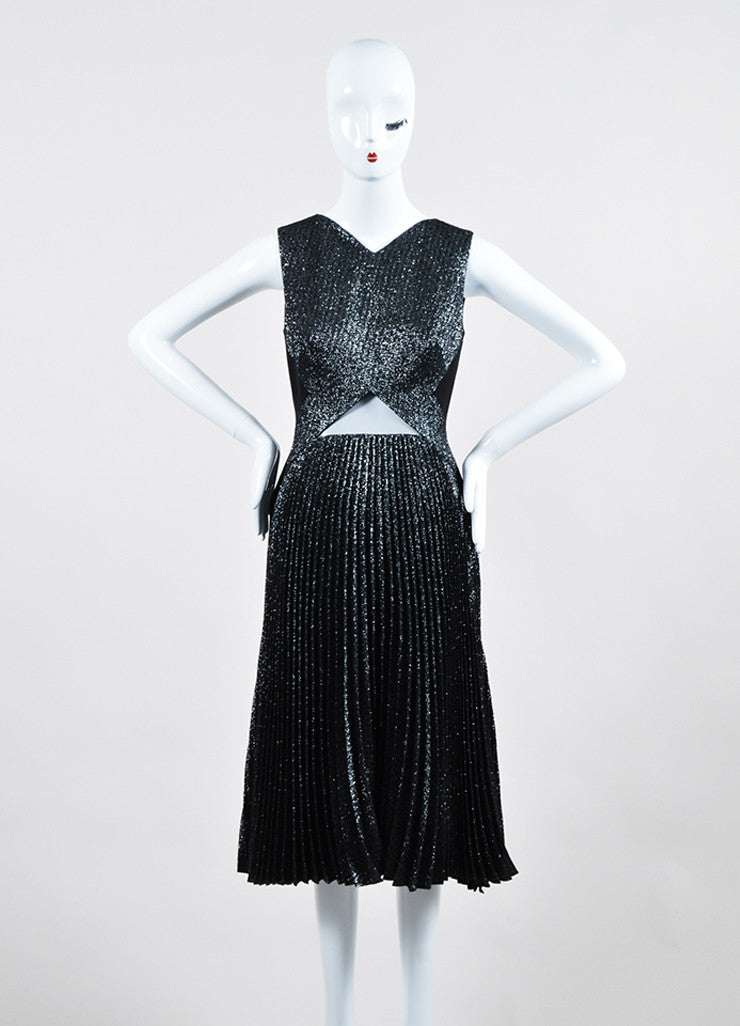 Silver and Black Metallic Lela Rose Pleated Sleeveless Dress Frontview