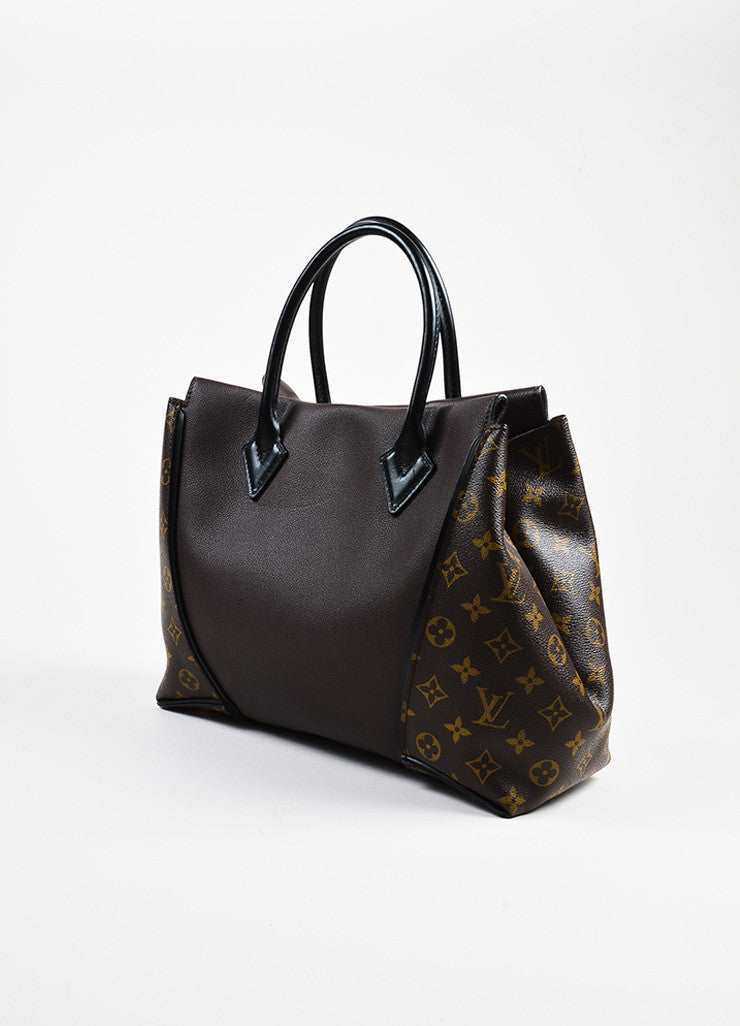 "Brown Louis Vuitton Coated Canvas Leather Monogram ""Tote W PM"" Handbag Side"