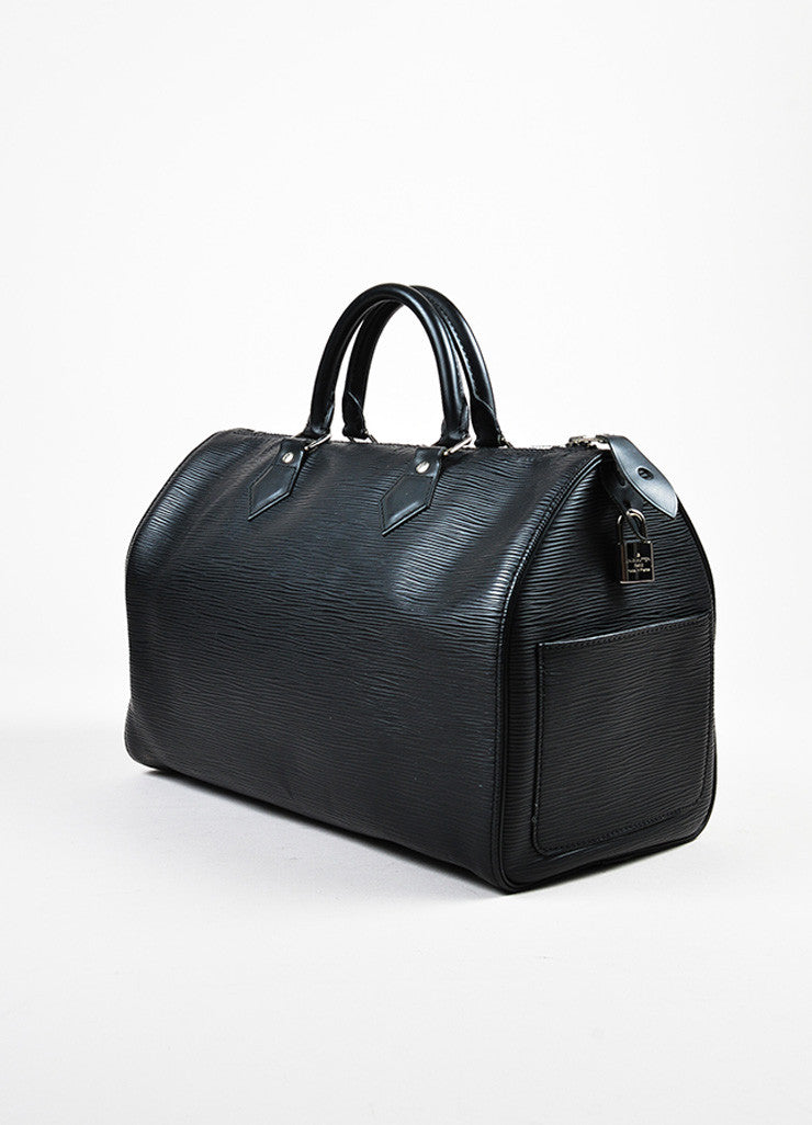 "Louis Vuitton Black Epi Leather ""Speedy 35"" Duffel Bag Sideview"