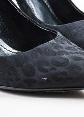 Black Louis Vuitton Satin Leopard Print Pointed Toe Slingback Pumps Detail