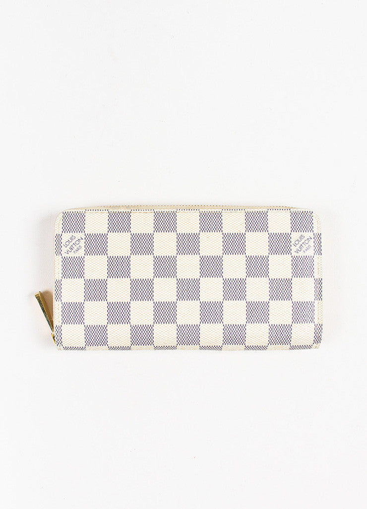 "Louis Vuitton Cream and Navy ""Damier Azur"" Printed Coated Canvas ""Zippy"" Wallet Frontview"