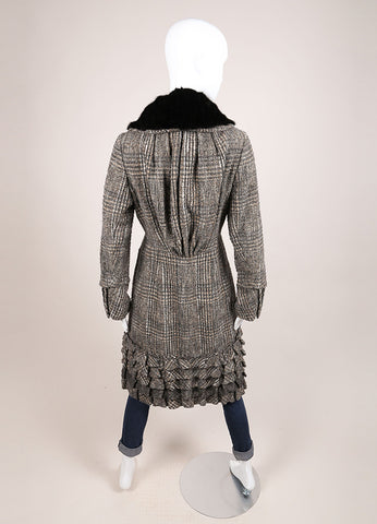 Louis Vuitton Grey and Black Wool Tweed Fur Collar Ruffle Long Sleeve Coat Backview
