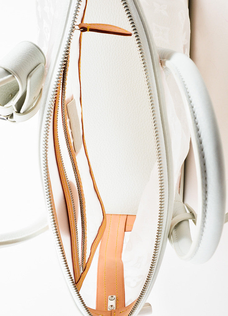 "Louis Vuitton Limted Edition White Nylon and Leather ""Transparence Lockit"" Satchel Bag Interior"
