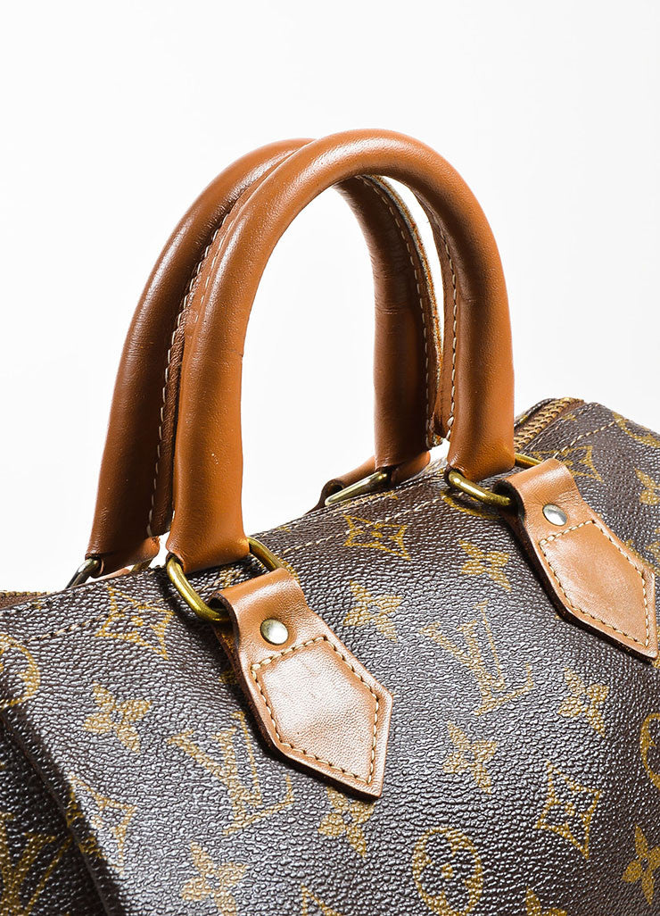 "Louis Vuitton x The French Luggage Company Brown Coated Canvas ""Speedy 25"" Bag Detail"