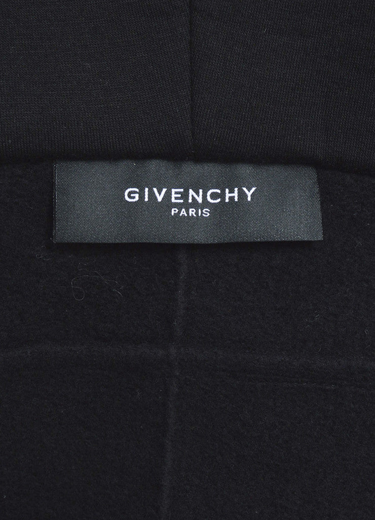 Men's Black Orange White Givenchy Cut Out Hem Fleece Hoodie Brand