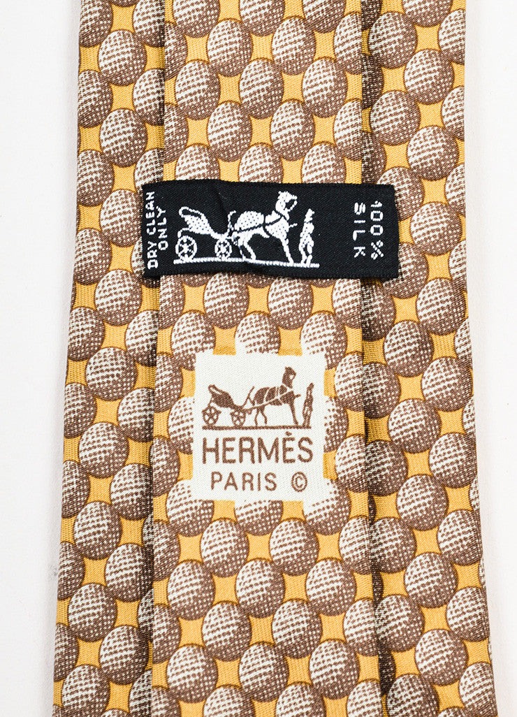 Men's Hermes Brown Tan Silk Circle Graphic Print Neck Tie Brand